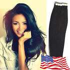 PU Seamless Tape in Skin Weft Brazilian Remy Human Hair Extensions Jet Black US