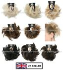 SCRUNCHIE FEATHERED ELASTICATED HAIR PIECE EXTENSION BUN UPDO MIDNIGHT BROWN BK