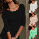 Hot Womens Casual Slim T-shirt Half sleeve Crew-neck Backless Tops Summer Blouse