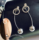Made in Korea Face Slimming Back Drop White Gold Ball Full CZ Gem Ring earrings
