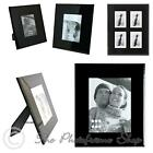"Art Deco Style Wide Profile Bevelled Black Glass Photo Frames - 3""x2"" - 10""x 8"""
