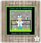 SCIENCE BOYS BIRTHDAY PARTY PERSONALISED SQUARE GLOSS PARTY STICKERS X 12