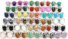 fashion silver plated sizable rings with natural gemstone beads stone 6-10 image