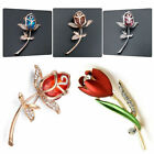 Elegant Rose Flower Tulip Crystal Rhinestone Crystal Fashion Brooch Gift