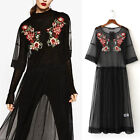 Women Mesh Floral Embroidered Maxi Dress Long Casual Party Tutu Tulle Prom Dress