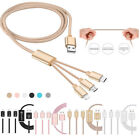 3 in 1 Micro + 8 Pin + Type-C USB Data Charger Cable For iPhone 5s 6 6s Samsung