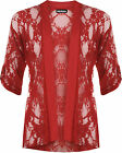 New Plus Size Womens Floral Lace Short Sleeve Ladies Open Cardigan Top 14-30