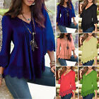 Women Summer Casual Long Sleeves Cotton Tee T Shirt Blouse Loose Tops Plus size