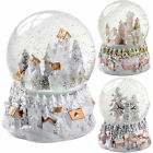 Snowman Christmas Tree Village Scene Snow Globe Christmas Decoration Pink Gold