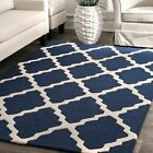 nuLOOM Hand Made Moroccan Trellis Contemporary Modern Wool Area Rug in Navy Blue