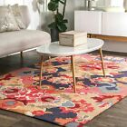 nuLOOM Hand Made Contemporary Floral Abstract Area Rug in Red, Pink, Gray Multi