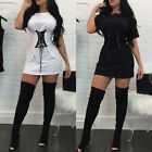 Fashion Summer Lace Up Crew Neck White/Black Long Top Blouse T-Shirt Slim Dress