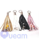 USB Cable Leather Tassel Metal Ring Key Chain Charger Cable For Mobile Phone
