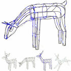 Large 3D Pre-Lit Jumping Grazing Reindeer Christmas Decoration White Blue