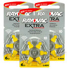 Rayovac Extra Hearing Aid 10 Size batteries * Zinc air * Mercury free x 60 cells