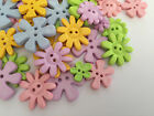 Pastel Flower shaped buttons ** mixed colours & assorted sizes **