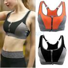 Women Seamless Zip Closure Sports Bra Yoga Fitness Running High Impact Vest Bra