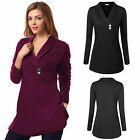 Women Solid V Neck Casual Long Sleeve Pullover Jumper T-Shirt Tops Blouse Tunic