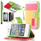 PU Leather Pouch Wallet Card Holder Magnetic Flip Color Case For iPhone 4/4S