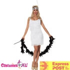 White 1920s Flapper Charleston Fancy Dress 20s Gatsby Costume Cigarette Boa
