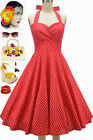 50s Style PLUS SZ Eleanor Paige PINUP Red Polka Dots SWEETHEART HALTER Sun Dress