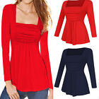US Fashion Womens Long Sleeve Casual Square Neck Ruched Tank T-Shirt Tops Blouse