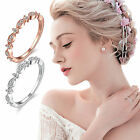Charming Women White Topaz Gemstone Rose Gold Silver Ring Jewelry Size 5 6 7