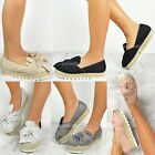 Womens Ladies Slip On Espadrilles Flats Bow Sneakers Pumps Trainers Shoes Size