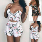 New 2pcs Womens Girls Floral Print Lace Up Holiday Cropped Top High Waist Shorts