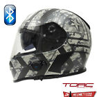 TORC T14B BLUETOOTH MATTE FLAT BLACK FORCE FULL FACE MOTORCYCLE HELMET XS-XXL