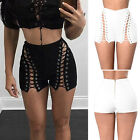 Fashion Women Summer Lace up High Waisted Denim Shorts Solid Hot Beach Pants New