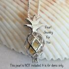 HAWAIIN PINEAPPLE STERLING SILVER Pearl Cage Pendant Necklace akoya oyster