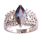Marquise Cut Rainbow White Topaz Gemstone Women Silver Plated Ring jewelry Gift