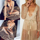 Puff Sleeve V-neck Backless Sequin Sheer Long Maxi Cocktail Evening Party Dress