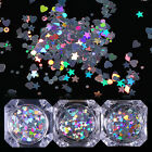 Holographic Nail Sequins Heart Star Round Holo Glitter Flakes Manicure Tips DIY