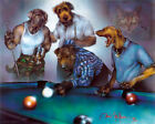 funny billiards Pool palying Dogs Quality wall Art poster Choose your Size $17.9 AUD on eBay