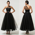 Black Tulle Long PROM One Shoulder Evening Formal Wedding Bridesmaid Dress 6-20