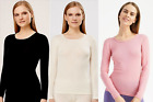 100% Merino Organic Wool UT UltraSoft Woman Longsleeve Shirt Base Layer 8436 NEW