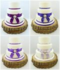 WEDDING CAKE SINGLE PEARL BROOCH – PEARLS & SATIN RIBBON CAKE TOPPER PURPLES