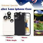 4In1 Lens iphone case! Fisheye Wide Macro 2x iphone6/6p/7/7p Black White Sale!