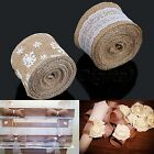 Hot 5M Wedding Decor Natural Jute Hessian Burlap Ribbon Tape with Lace Trims A3D