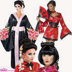 ADULT GEISHA ORIENTAL JAPANESE CHINESE KIMONO LADIES FANCY DRESS COSTUME OR WIG