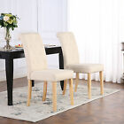 PREMIUM LINEN FABRIC DINING LIVING ROOM CHAIRS SCROLL HIGH BACK CREAM
