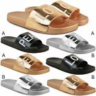 Womens Ladies Flat Casual Sliders Peace Love Sandals Pumps Summer Shoes Size New