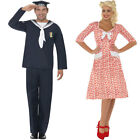 Unisex Couples 1940s Fancy Dress - Womens Mens Sweetheart + Naval Seaman Costume