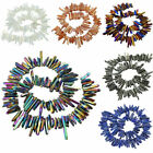 Natural Crystal Point Titanium Coated Rough Sticks Spikes Drilled Beads 16''L
