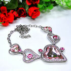 Pink Crystal Elements & 925 Silver Handmade Necklace BM-10001