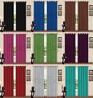 Ready Made Luxury Thermal Blackout Curtains Pair Eyelet Ring Top Plain