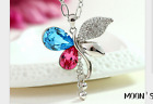 Butterfly design long section of high-grade crystal pendant jewelry necklac