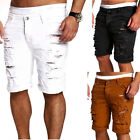 Men's Destroyed Ripped Denim Pants Slim Skinny Straight Jeans Shorts Trousers